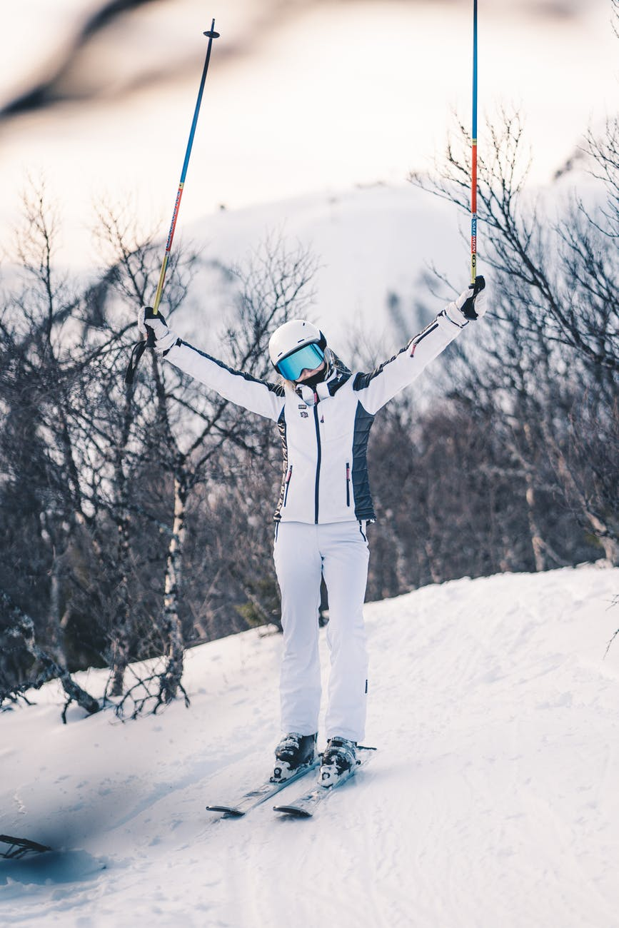 person wearing ski boots