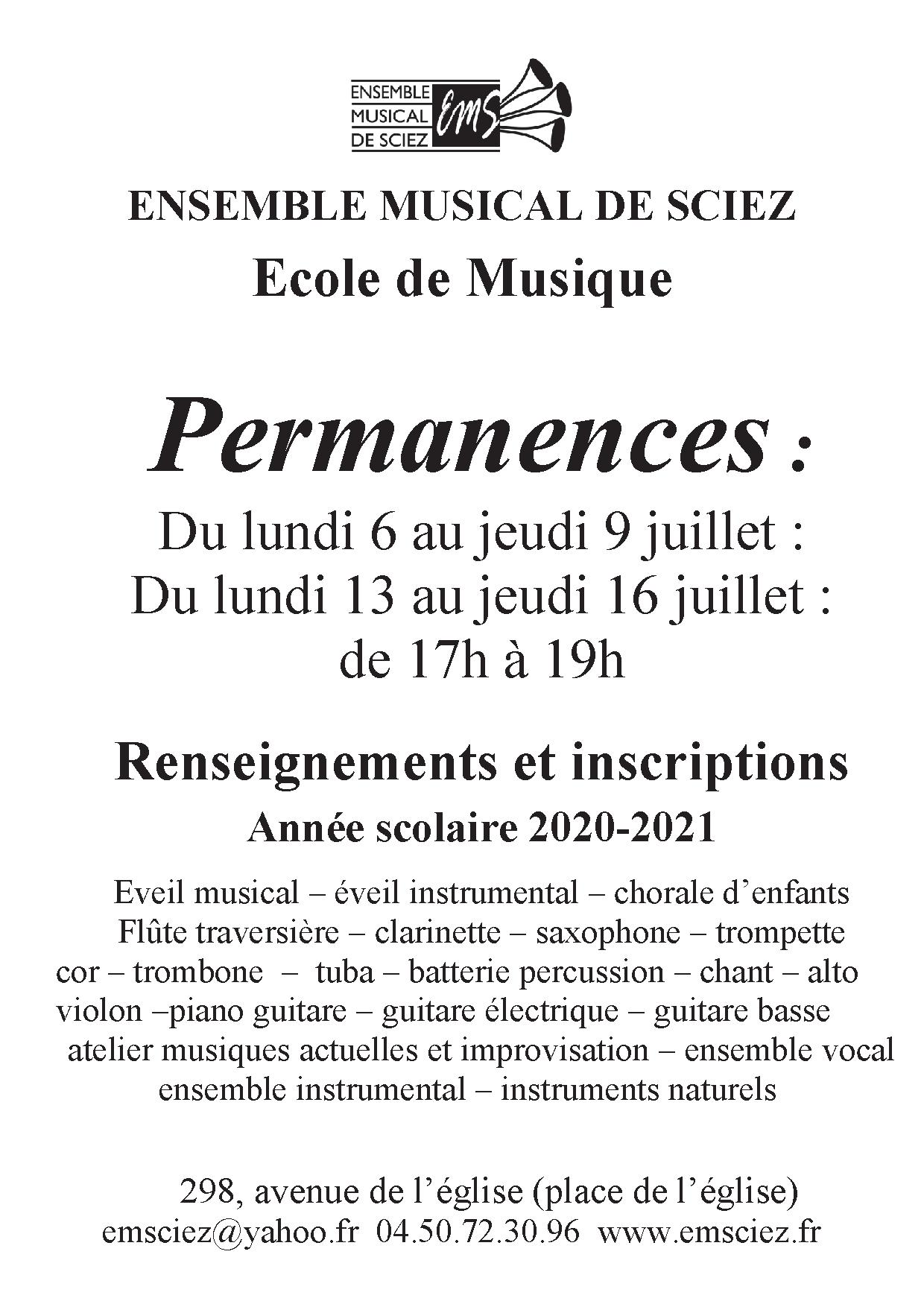 PERMANENCES D'INSCRIPTIONS