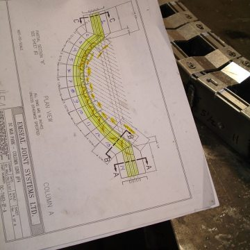 Drawing of curved expansion joints