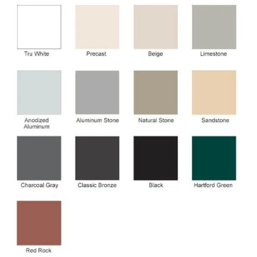 Color Selection Guide: Pecora 890NST, standard, pre-tinted, silicone colors