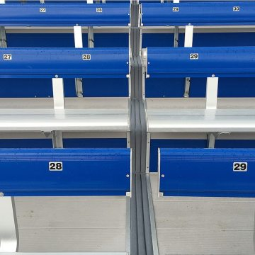 EMSEAL's DSM System installed in metal bleachers at SDSU Stadium.