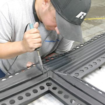 Welding a EMSEAL watertight factory fabricated transitions