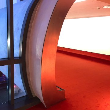 Curved expansion joints handled with Emseal Seismic Colorseal at TWA Hotel at JFK