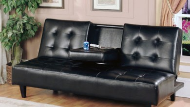 Photo of Dark Leather Futon with Cup Holders