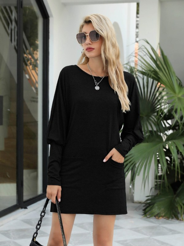 shestar wholesale bishop sleeve pocket plain tee dress