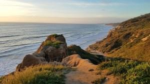 A rock overlooking the California coastline.