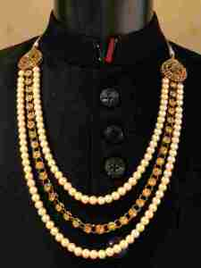 Gold with Diamond Moti Mala for groom