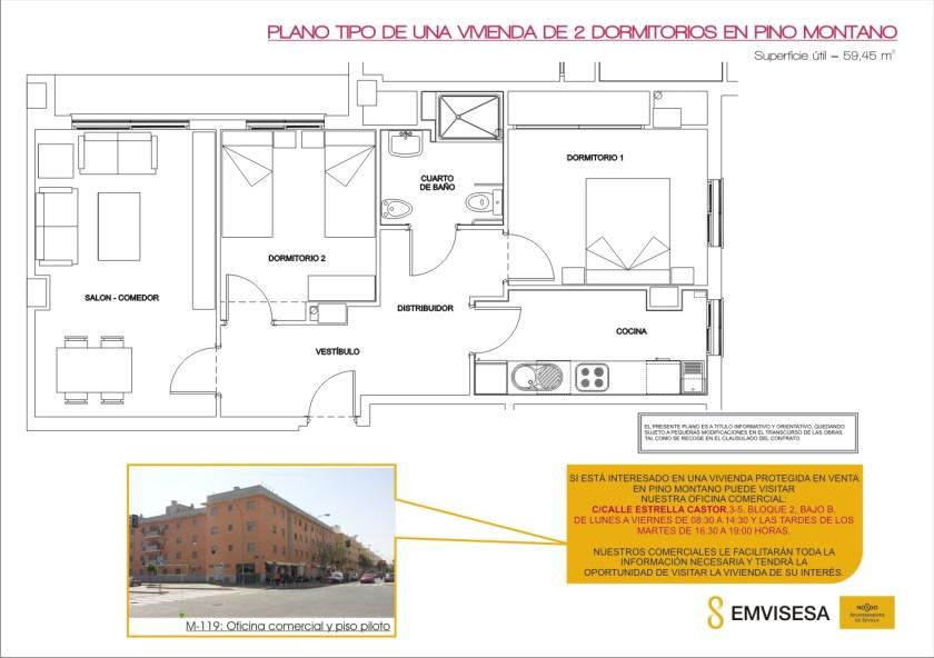 Plano tipo de una vivienda de 2 dormitorios en Pino Montano.