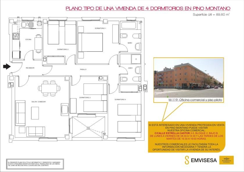 Plano tipo de una vivienda de 4 dormitorios en Pino Montano.