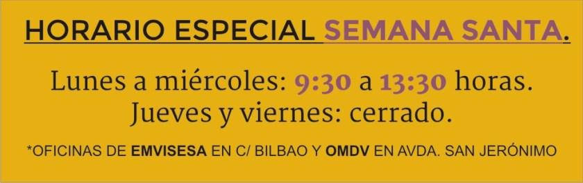 Horario especial Semana Santa 2017.