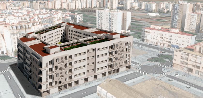 Cisneo Alto. Imagen 3D del aspecto que tendrá la promoción de 83 viviendas a construir por Emvisesa.
