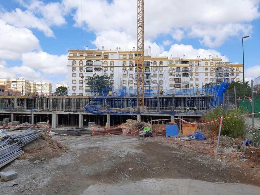 Desarrollo de las obras de construcción de Cisneo ALto a 16 de abril de 2021. Emvisesa.