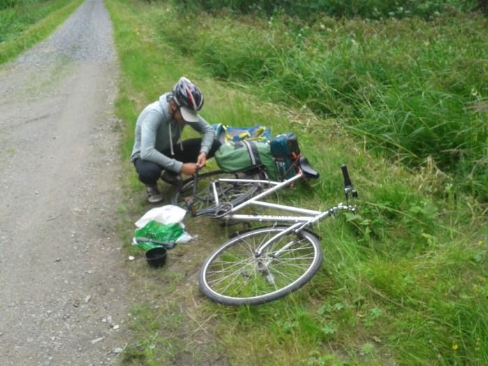 Crevaison voyage à vélo