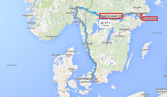 Itinéraire voyage à vélo Copenhague - Oslo - Stockholm