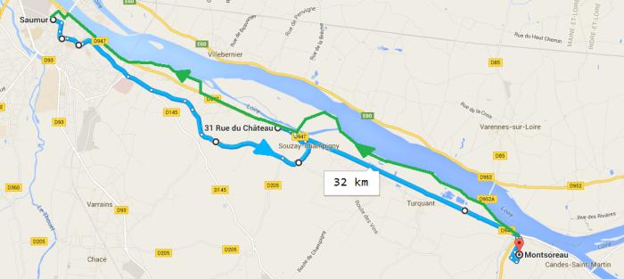Itinéraire Loire à Vélo Saumur Montsoreau