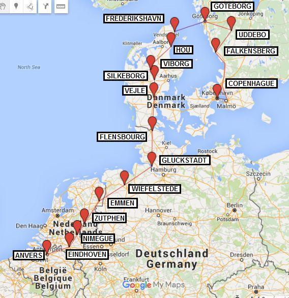 Itinéraire voyage à vélo Belgique Pays-Bas Allemagne Danemark Suède