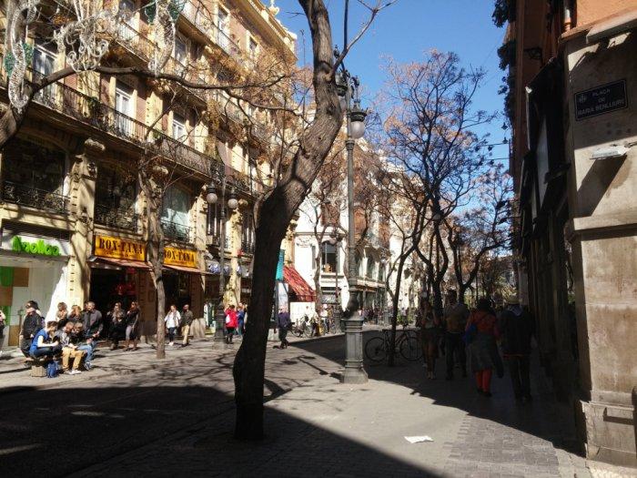 Dans les rues du centre-ville de Valencia