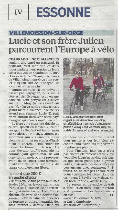 Interview papier de Lucie et Julien dans le Parisien