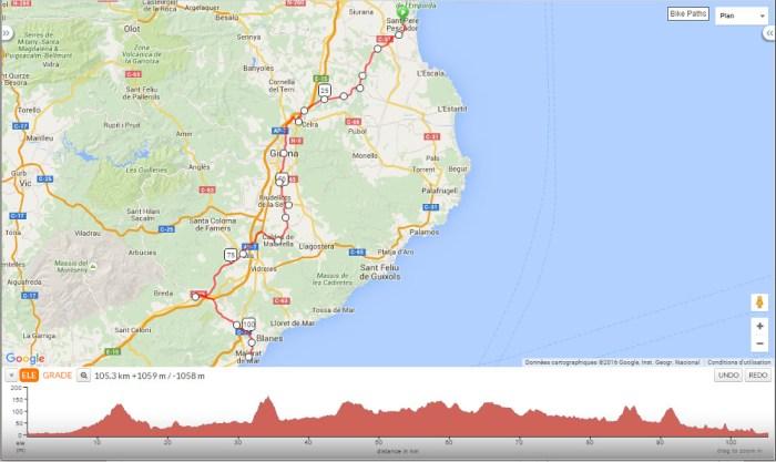 Itinéraire voyage à vélo Malgrat de mar et Pineda de mar