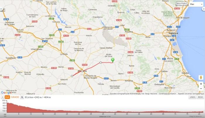 Itinéraire voyage à vélo Valencia Albacete