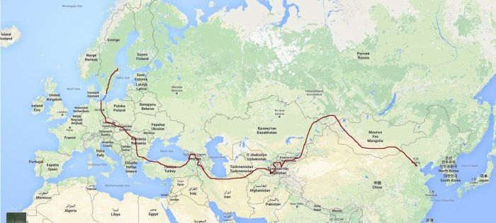 Itinéraire vélo Eurasie