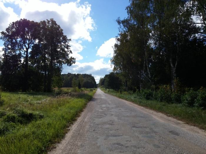 Route au goudron légèrement défoncé en Lettonie sur l'Eurovelo 13