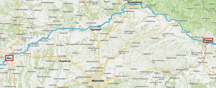 Ulm Passau carte Eurovelo 6