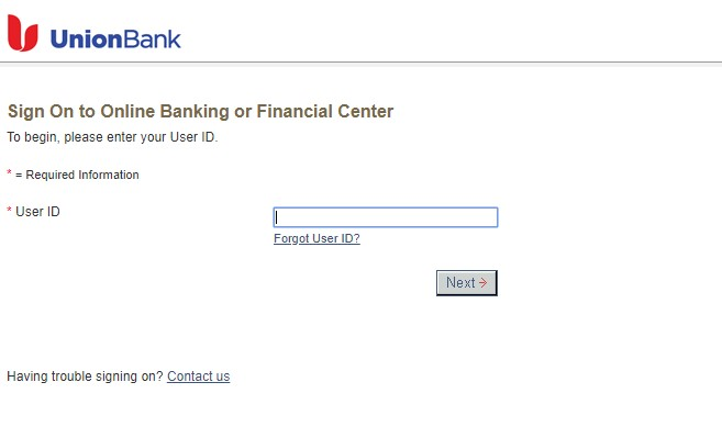 Union Bank Login Page
