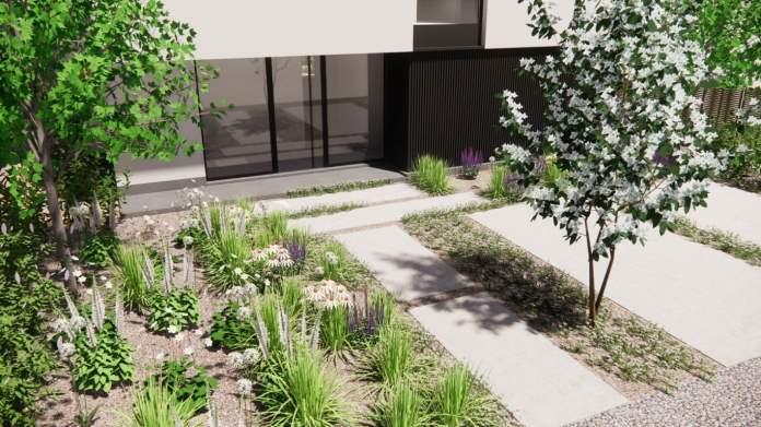 Betonvlakken als toegang tot de voordeur