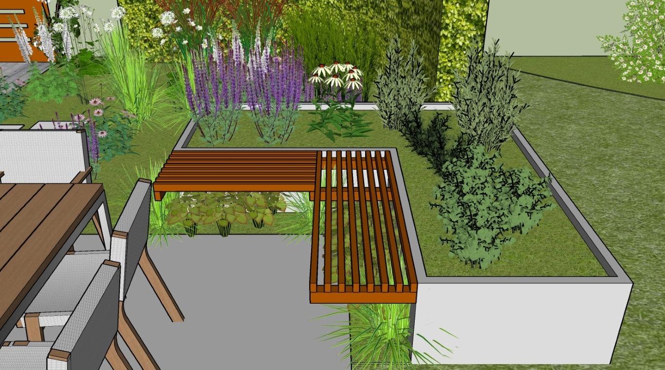 kruidenbak met zitbankje aan het terras