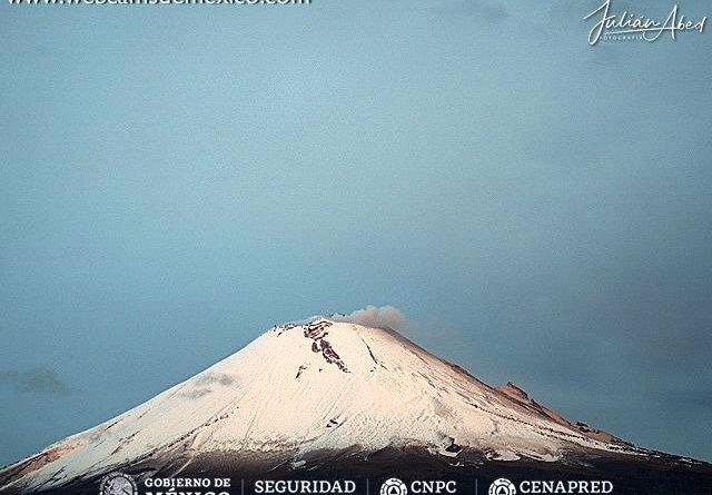 ¡Espectacular! El Popocatépetl amanece totalmente nevado