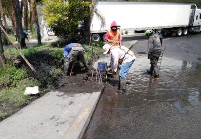 Desazolvan drenajes y limpian laterales en autopista México-Puebla