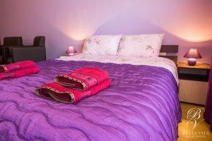 Comfortable Bed in Bedroom of Studio Apartment for Rent Short Term in Blagoevgrad Bulgaria