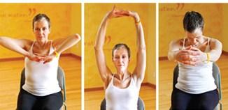 chair yoga - shoulder stretch