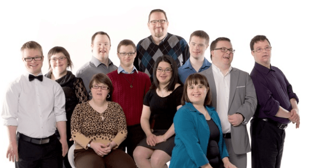 Professional group photo of eleven beautiful persons with down syndrome