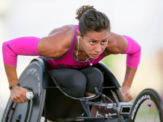 Photo of US Army Captain Kelly Elmlinger while training for the Defense Warrior Games