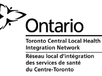 Black and white logo with the Trillium Flower on the top left corner and the text Ontario Toronto Central Local Health Integration Network on the right side of the logo in both English and French