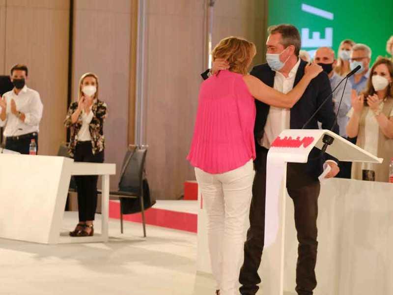 Susana Díaz junto a Juan Espadas en su despedida del PSOE-A