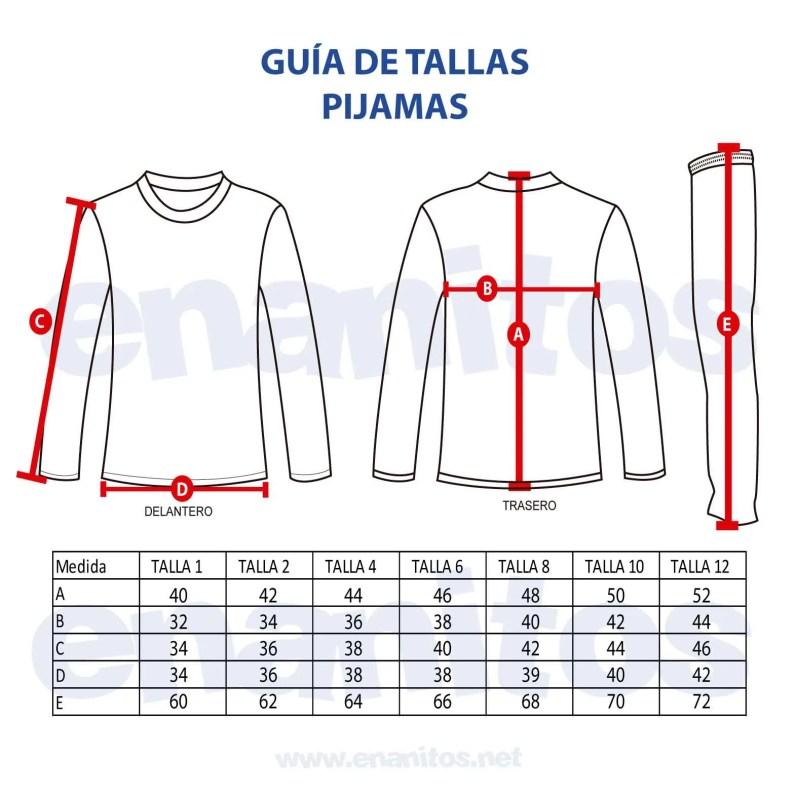 Guía de talla de Pijamas