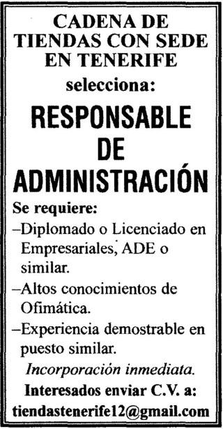 Tenerife Oferta De Trabajo Responsable De Administración Búsqueda