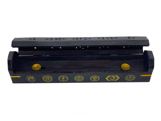 Black Chakra Wooden Box Incense Burner