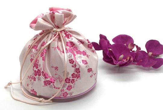 Pink Satin Flast-Bottom Bag