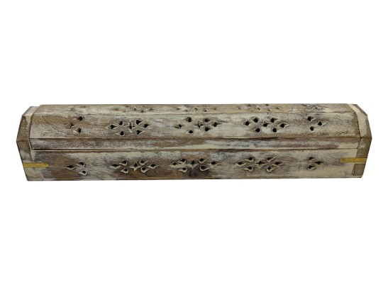 Brown White Wash Wooden Box Incense Burner