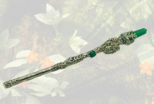 Large Greenman Wand with Green Aventurine