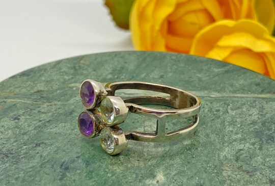 Amethyst and Blue Topaz in Setring Silver Ring Size 8