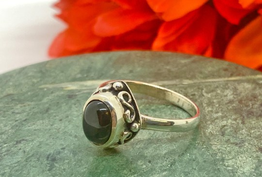 Black Onyx in Sterling Silver Ring Size 11