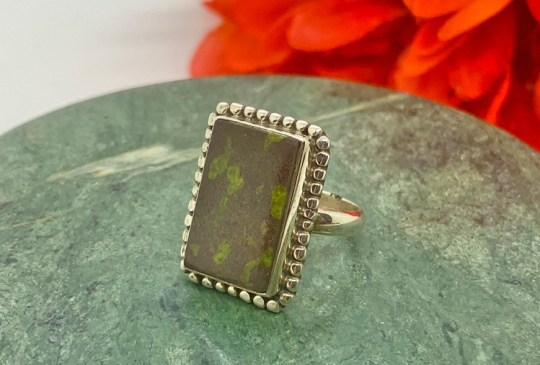 Epidote Ring in Sterling SIlver Size 6