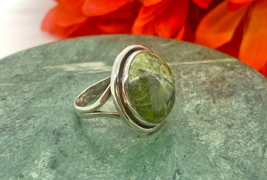 Epidote in Sterling Silver Ring Size 8