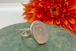 Rose Quartz in Sterling Silver Ring Size 9