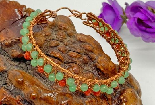 Aventurine & Carnelian in Copper Bracelet